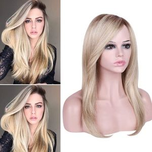 Ombre Ash Blonde Wig Straight Free Part Synthetic